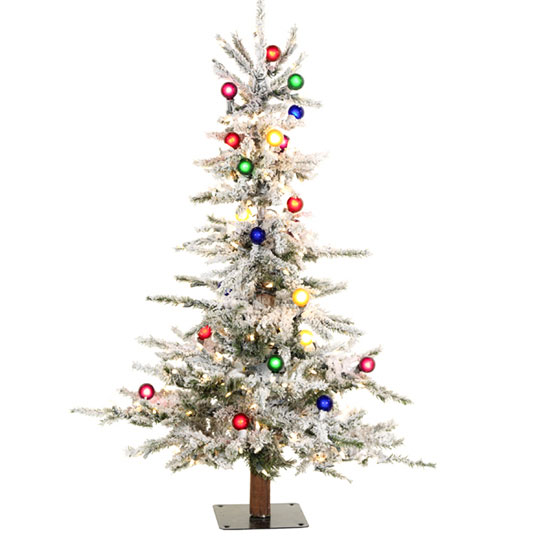 4 ft flocked slim christmas tree - Skinny Christmas Trees